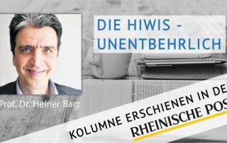 Die Hiwis - unentbehrlich, Kolumne von Heiner Barz, erschienen in der Rheinischen Post